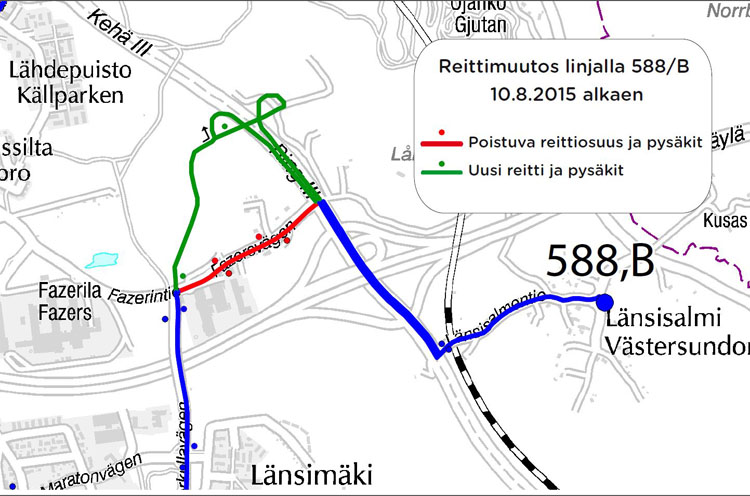 Linjojen 588 ja 588B uusi reitti Vantaalla 10.8. alkaen