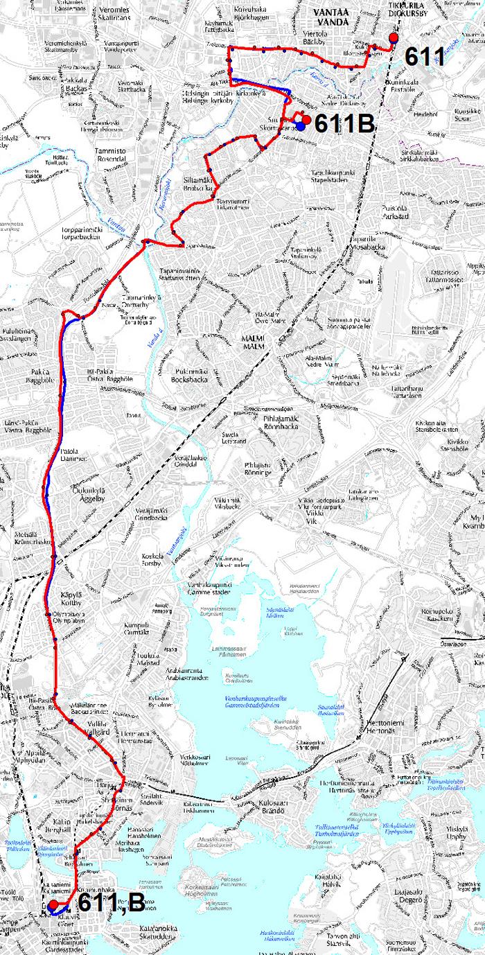 linjan 611 reittikartta