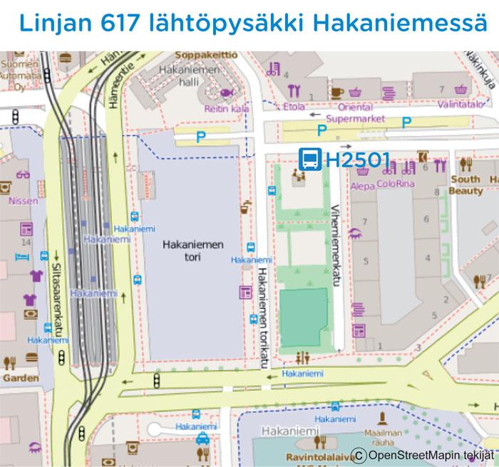 Linjan 617 lähtöpysäkki Hakaniemessä