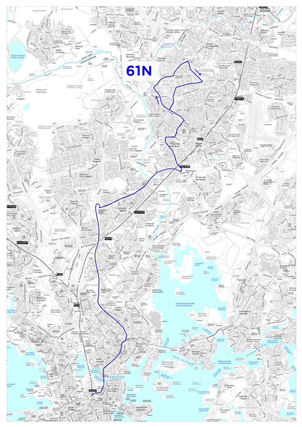 Yölinjan 61N reitti 14.8.2017 alkaen