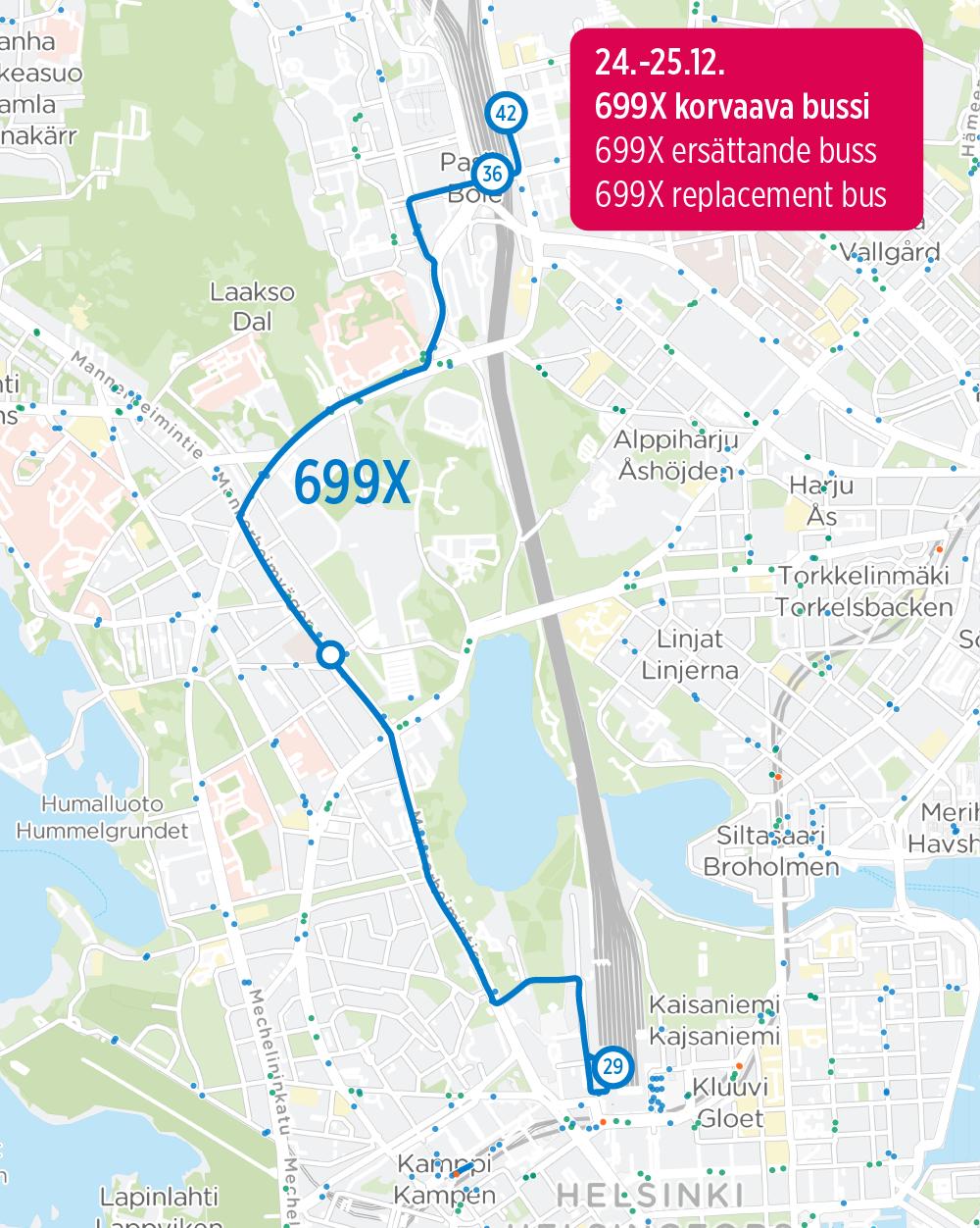699X korvaava linja 24.-25.12.