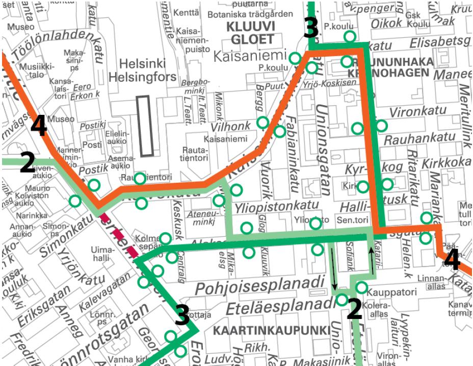 Raitiolinjat 2, 3 ja 4 poikkeusreiteillä 6.-7.5. välisenä yönä.