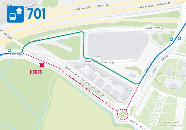 Kartta lähibussin 701 reitistä Viikissä 9.3. alkaen