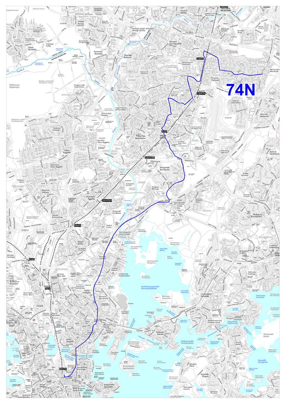 Linjan 74N reitti 14.8.2017 alkaen