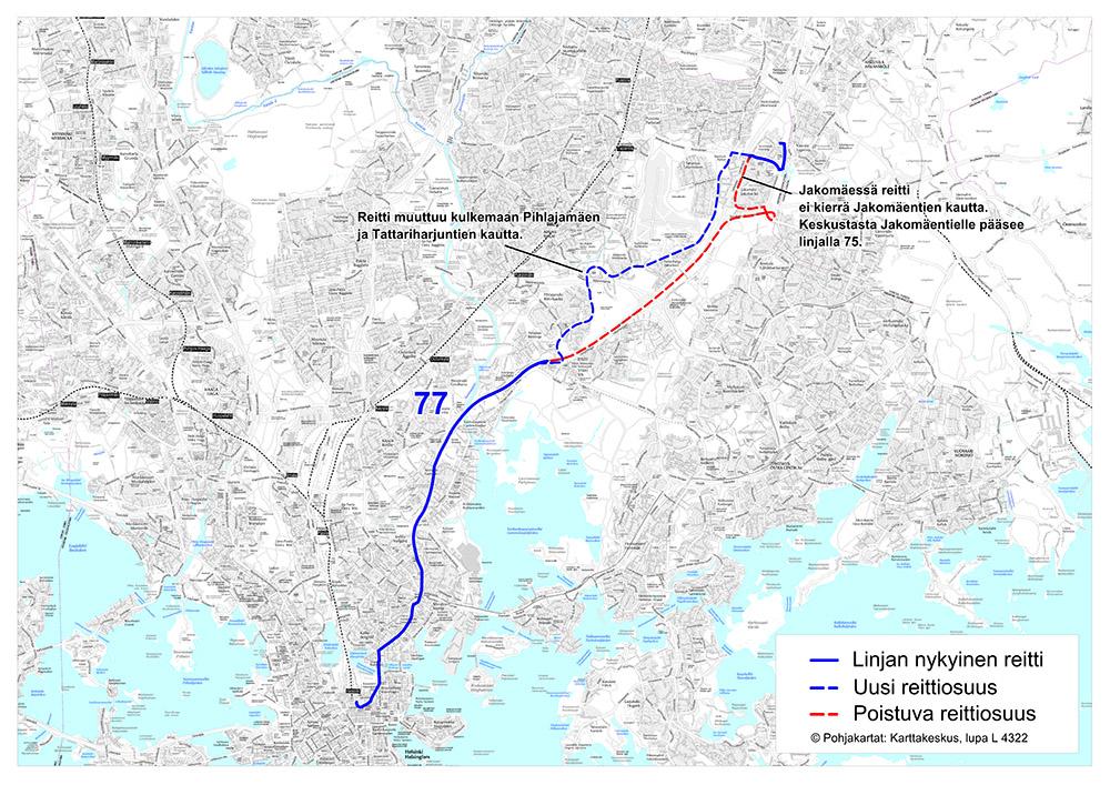 Linjan 77 reitti 14.8.2017 alkaen
