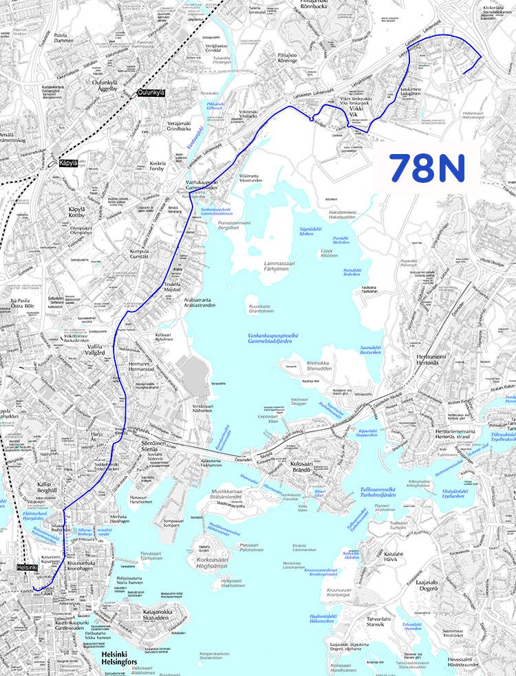 Linjan 78N reitti 14.8.2017 alkaen