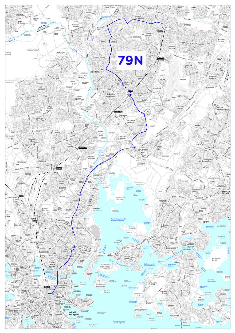 Yölinjan 79N reitti 14.8.2017 alkaen
