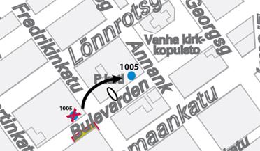 Pysäkin H1005 tilapäinen paikka 7.3.2014 alkaen