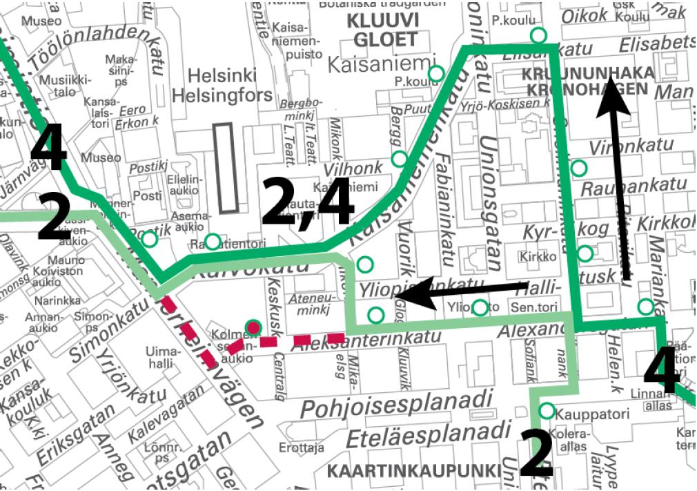 Raitiolinjat 2 ja 4 poikkeusreitillä Länsi-Pasilan ja Munkkiniemen suuntaan 7.-8.5. välisenä yönä.