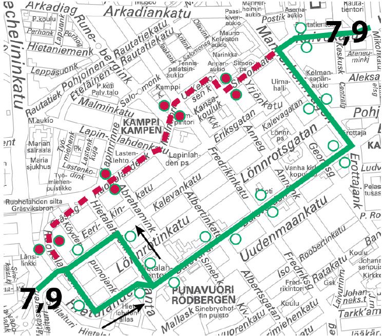 Linjat 7 ja 9 ajavat Bulevardin kautta Jätkäsaaren ja Rautatieaseman välillä 11.-12.11. välisenä yönä klo 22-05
