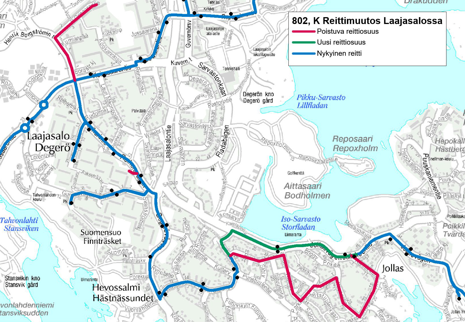 Route change for neighborhood route 802 from 3 October | HSL