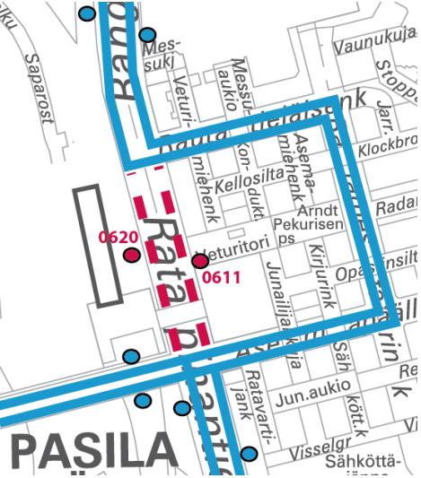 Karttakuva linjan 848 poikkeusreitistä Pasilassa 16.-22.12. öinä klo 24-05