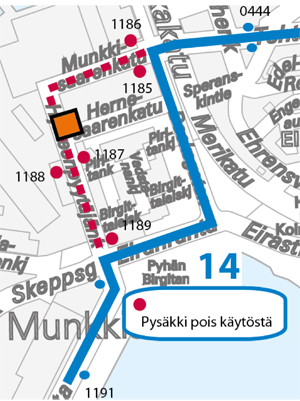 Linjan H14 poikkeusreitti 8.12.2014