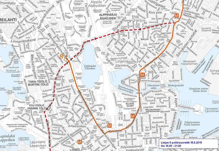 Raitiolinjan 8 poikkeusreitti Helsinki City Marathonin aikaan 15.8.