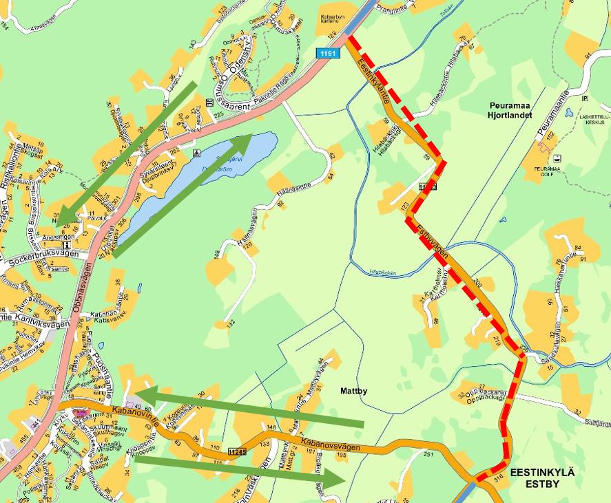 Linja ajaa Kabanovintien ja Upinniementien kautta, kiertäen Eestinkylän