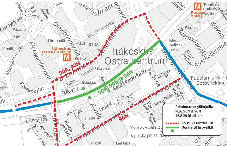 Linjojen 90A, 90N ja 96N reitti Itäkeskuksessa 15.8.2016 alkaen