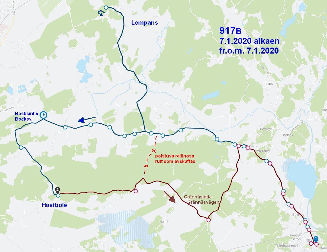 Kartta linjan 917 uudesta reitistä