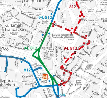 Bussit 94 ja 812 poikkeusreitillä Kontulassa 22.8.2015