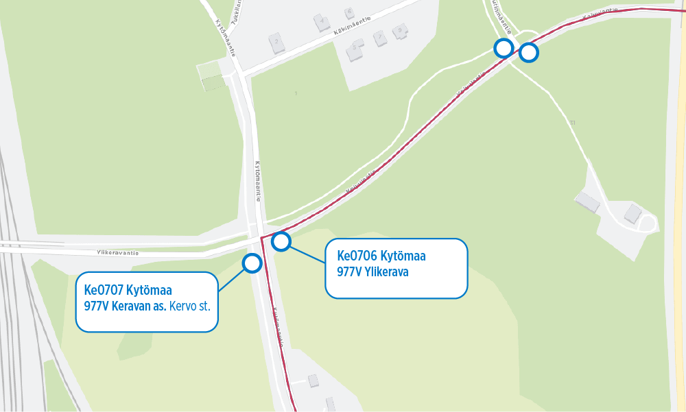 977V:lle uusi pysäkkipari Kytömaa käyttöön 29.10.