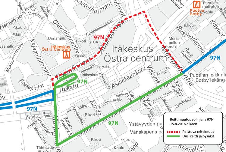 Linjan 97N reitti Itäkeskuksessa 15.8.2016 alkaen