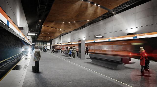 Aalto-yliopiston metroaseman laituri