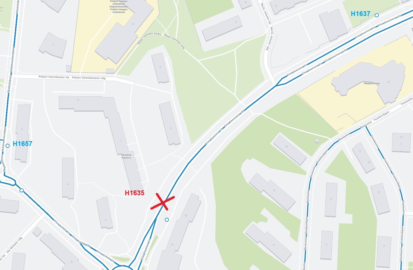 """Eliel Saarisen tie, pysäkki """"Aino Acktén tie"""" H1635 poistuu käytöstä"""