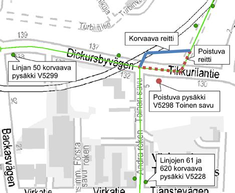 Tilapäinen reittimuutos Tikkurilantiellä 10.7.2014