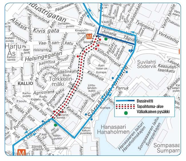 kartta bussireiteistä
