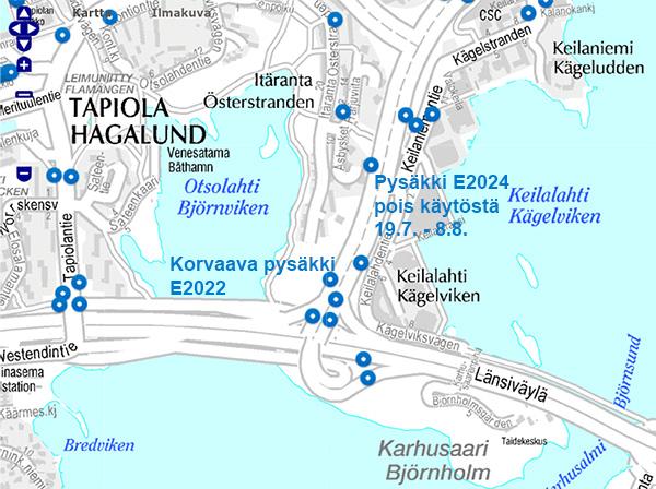 Pysäkki E2024 Keilaniemi pois käytöstä 19.7. - 8.8.2016