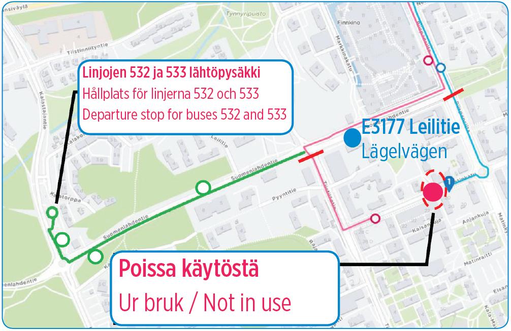 Matinkadun sulku aiheuttaa poikkeusreitin linjoille 532 ja 533 12.-16.8.
