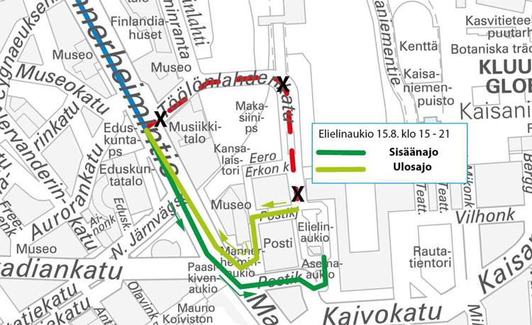 Elielinaukion bussien poikkeusjärjestelyt Helsinki City Marathonin aikana.
