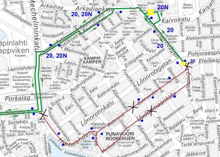 Bussien 20 ja 20N poikkeusreitti 12.-22-7.2013