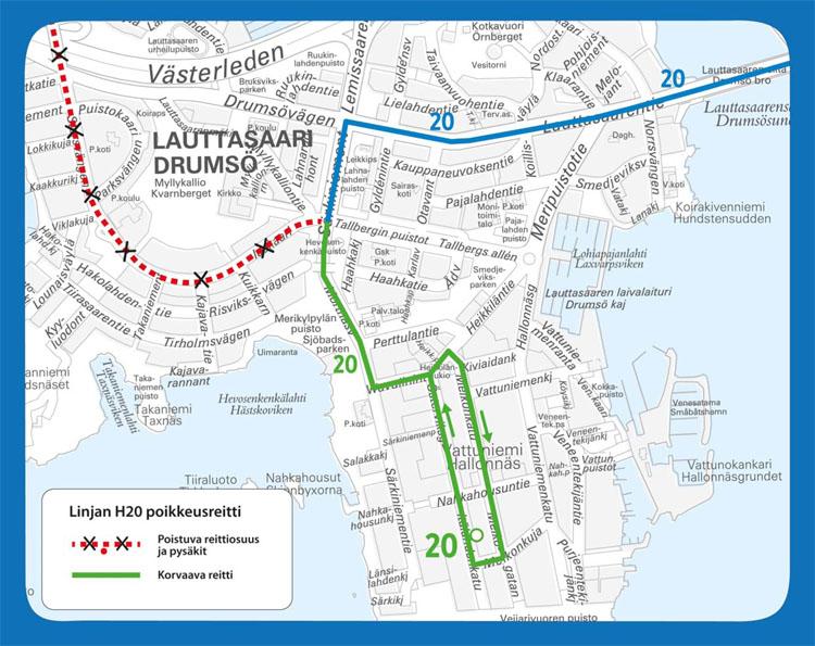 Linjan 20 poikkeusreitti Lauttasaaressa Helsinki City Marathonin aikana.