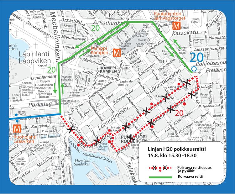 Linjan 20 poikkeusreitti Kampissa Helsinki City Marathonin aikana.