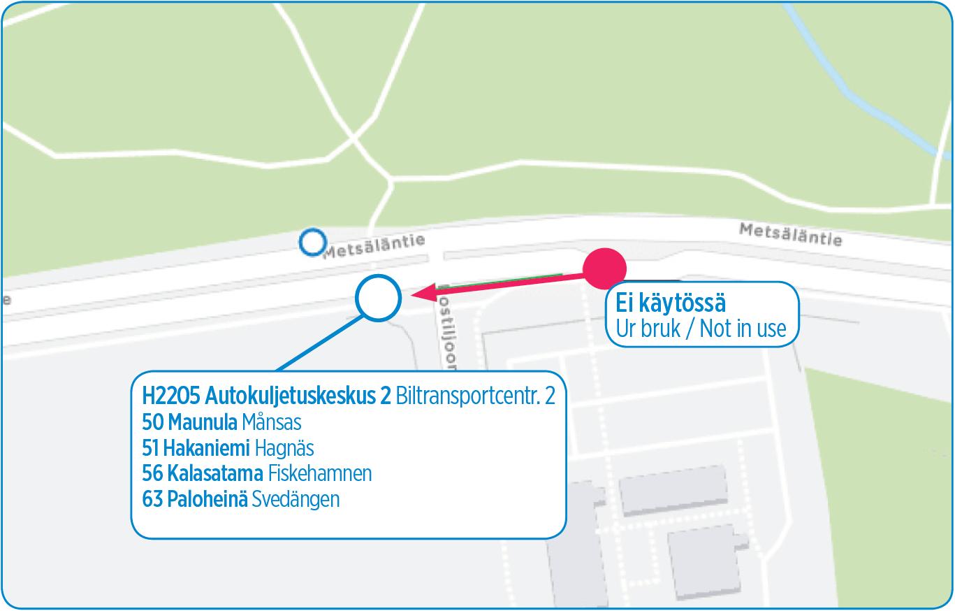 Autokuljetuskeskus 2 (H2205) siirtyy tiistaina 1.10. noin 100 metriä Haagan suuntaan
