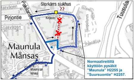 Bussit 22 ja J61 normaalireitille Suursuolla 7.11.2013