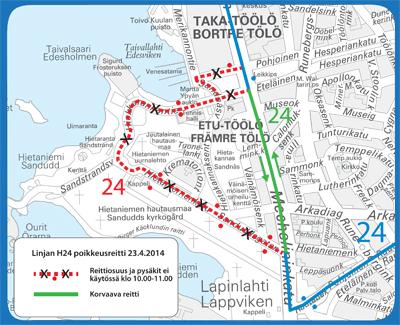 Bussin 24 poikkeusreitti 23.4.2014
