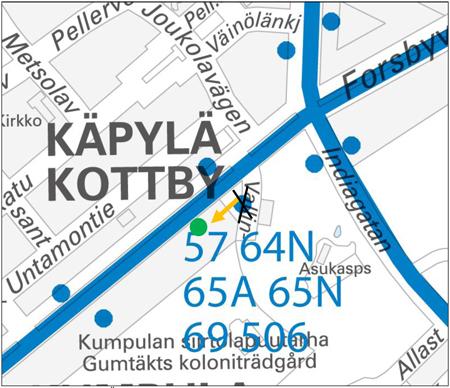 Koskelantien pysäkin siirto kartalla 25.9.2013