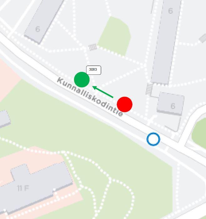 Kunnalliskodintien pysäkki H3083 siirtyy noin 50 metriä Antti Korpin tien suuntaan