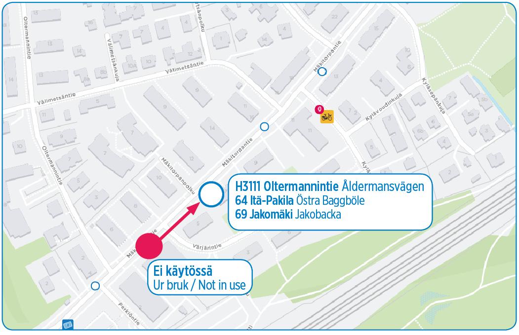 H3111 Oltermannintie siirtyy noin 100 metriä Oulunkylän suuntaan 29.8.