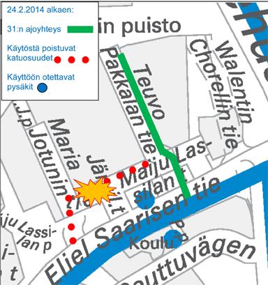 Linjan H31 reittimuutos Haagassa