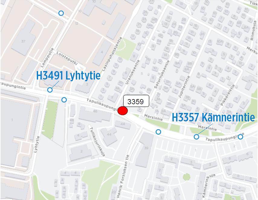 Henrik Forsiuksen tien pysäkki H3359 suljetaan 1.7. alkaen