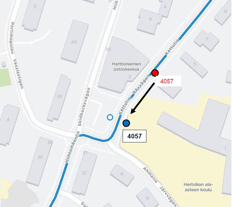 H4057 Eränkävijäntori siirtyy noin 40 metriä maanantaina 14.10.