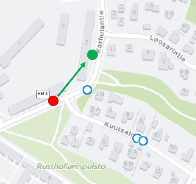 """Rusthollarintien pysäkki (Kuutsalontie) """"H4516"""" siirtyy talotyömaan takia noin 100m."""