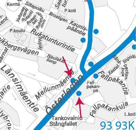 Kartta, pysäkki pois käytöstä, linjat 93 ja 93K