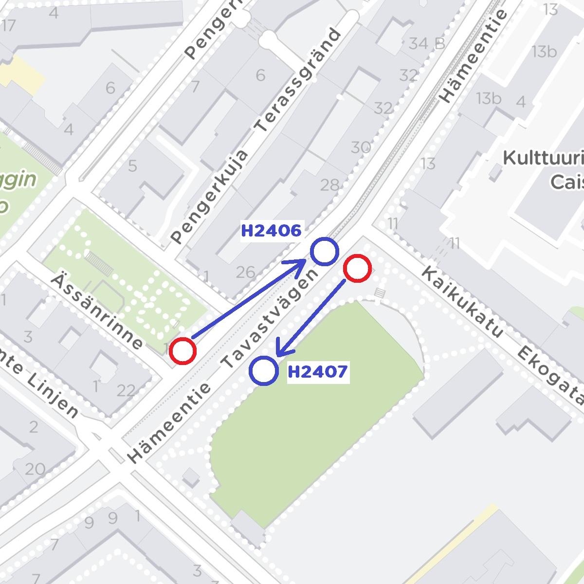 Haapaniemi H2406 eli pysäkki kohti Hakaniemeä siirtyy 70 metriä Sörnäisiin päin. Pysäkki Haapaniemi H2407: Pysäkki siirtyy Väinö Tannerin kentän kohdalle