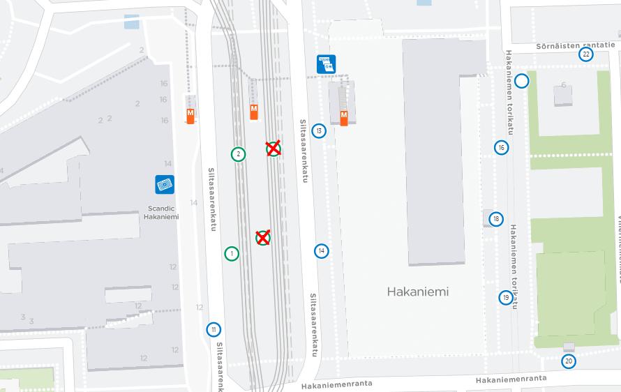 Kartta Hämeentien uudistustyömaan takia poistuvista raitiovaunupysäkeistä Hakaniemessä 4.3.2019