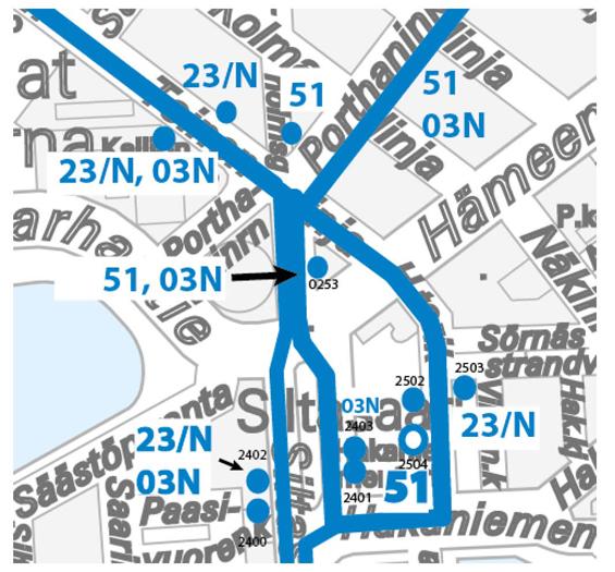 Hakaniemen bussien reittikartta