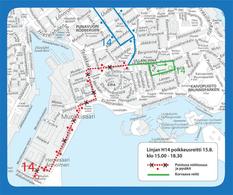 Linjan 14 poikkeusreitti Helsinki City Marathonin aikana.
