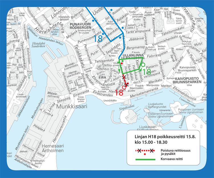 Linjan 18 poikkeusreitti Helsinki City Marathonin aikana.